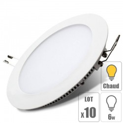 lot x10 Spot led downlight rond 6w slim blanc chaud