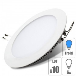 lot x10 Spot led downlight rond 6w slim blanc froid