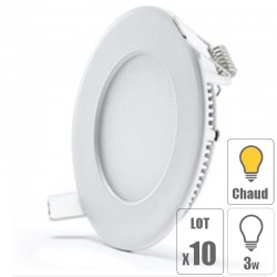 lot x10 Spot led downlight rond 3w slim blanc froid