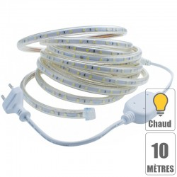Kit ruban led 220V 10 mètres Blanc froid étanche IP67