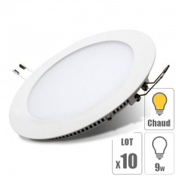 lot x10 Spot led downlight rond 9w slim blanc chaud