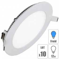lot x10 Spot led downlight rond 12w slim blanc froid