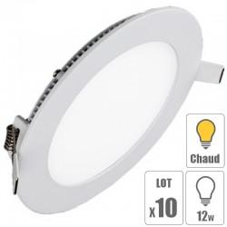 lot x10 Spot led downlight rond 12w slim blanc chaud
