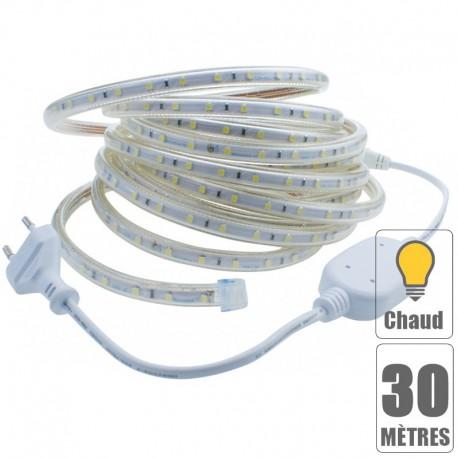 Kit ruban led 220V 30 mètres Blanc chaud étanche IP67