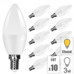 Lot 10 ampoule led E14 3W bougie blanc chaud