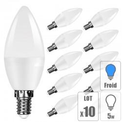 Lot 10 ampoule led E14 5W bougie blanc froid
