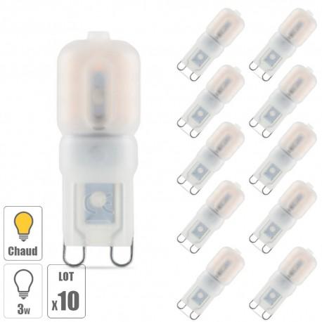 Lot x10 ampoule led G9 3W blanc chaud