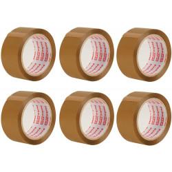 x6 rouleaux de ruban adhésif d'emballage marron de 48 MM x 66 M pour colis et boîtes