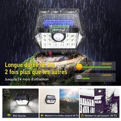 Patio etc LP-FR-BA151DCPM Version Avancée Mur Mpow Cour Garage Escalier Maison Lampe Solaire 4 Pack 20 LED Etanche Détecteur de Mouvement Temps d'éclairage 30s Spot Solaire Eclairage Exterieur pour Jardin